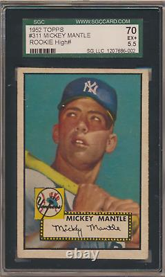 Mickey Mantle 1952 Topps Rookie High Number #311 Yankee Sgc 70/ 5.5
