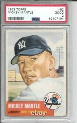 Mickey Mantle 1953 Topps Psa 2! Well Centered/just Graded/high End Beauty