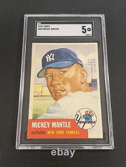 Mickey Mantle 1953 Topps SGC 5 Yankees CENTERED SO CLEAN