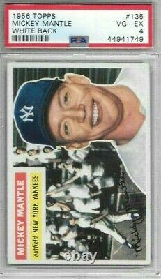 Mickey Mantle 1956 Topps White Back Psa 4! Centered/just Graded/beauty Look