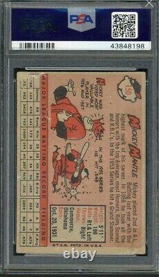 Mickey Mantle 1958 Topps Baseball Card #150 Graded VG 3 (PSA)