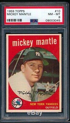 Mickey Mantle 1959 Topps Yankees Card #10 PSA 8 Very Clean