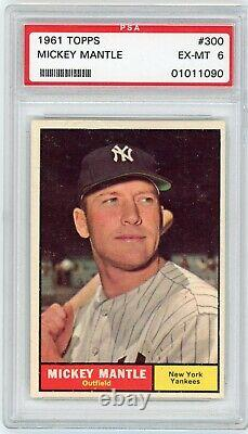 Mickey Mantle 1961 Topps #300 PSA 6 Excellent To MINT New York Yankees Sharp