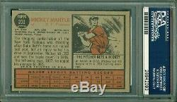 Mickey Mantle 1962 Topps #200 PSA 6 Great Image/Color Well Centered