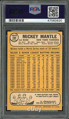 Mickey Mantle 1968 Topps Baseball Card #280 PSA 8.5 High-End