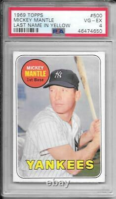 Mickey Mantle 1969 Topps Psa 4! Centered/just Graded/amazing Eye Appeal