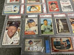 Mickey Mantle 24 card collection 1951 Bowman rookie 1953 1956 Topps PSA BVG