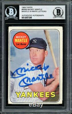 Mickey Mantle Autographed Auto 1969 Topps Card #500 Yankees Beckett 12057299