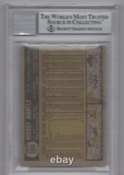 Mickey Mantle Beckett Graded 9 Mint Signed 1961 Topps Card #300 Autographed