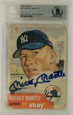 Mickey Mantle New York Yankees HOF Autographed 1953 Topps #82 Card Beckett