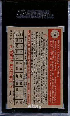 Mickey Mantle Rookie Card 1952 Topps #311 SGC 70 EX+ 5.5 Excellent RC Centered