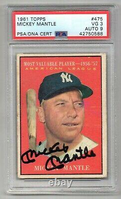 Mickey Mantle Signed 1961 Topps MVP Card #475 CARD PSA 3 DNA Autograph Grade 9