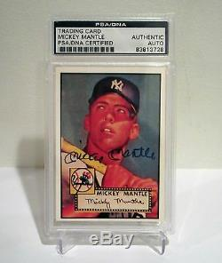 Mickey Mantle Yankees Autographed 1952 Topps PSA/DNA #311 1988 BBC Baseball Card