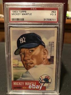 PSA 3 (VG) 1953 Topps Mickey Mantle #82 (SP) Nicely Centered