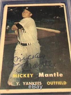 PSA/DNA 1957 Topps #95 Mickey Mantle Auto Signed Autograph
