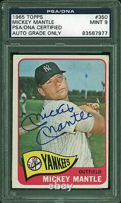 Yankees Mickey Mantle Signed 1965 Topps #350 Card Auto Graded Mint 9 PSA Slabbed